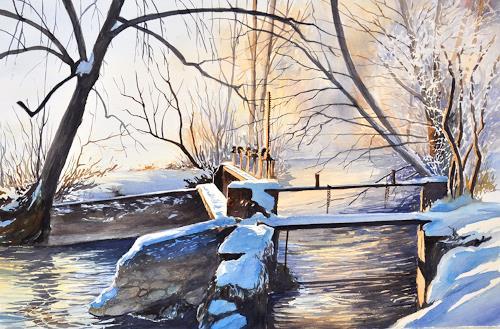 Daniel Gerhard, Beim alten Wehr, Landscapes: Winter, Nature: Water, Abstract Art, Expressionism