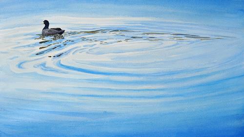 Daniel Gerhard, Blesshuhn, Nature: Water, Animals: Water, Abstract Art