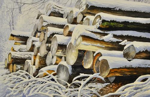 Daniel Gerhard, Rundholz XXL, Landscapes: Winter, Plants: Trees, Realism, Expressionism