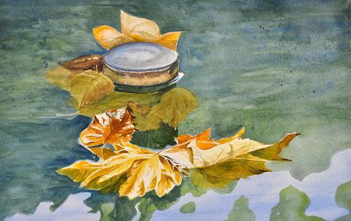 Daniel Gerhard, Herbst im Brunnentrog, Nature: Water, Plants: Trees, Abstract Art