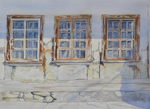 Daniel Gerhard, Die Fassade bröckelt..., Architecture, Buildings: Houses, Abstract Art