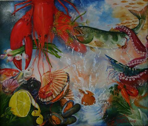 Werner Fink, Heute kochen wir französisch, Meal, Still life, Naturalism, Abstract Expressionism