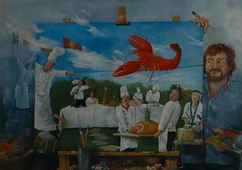 Werner Fink, Der Balanceakt des Hummers veranlasste die Frau des Meeresfrüchtebändigers sich zu entkleiden., Meal, Society, Neue Sachlichkeit, Abstract Expressionism