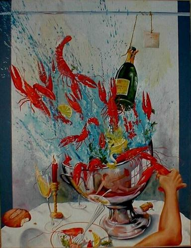 Werner Fink, Krebse essen mit Angelika, Meal, Still life, Surrealism