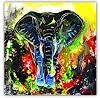 Burgstallers-Art, Elefant, handgemalt ,Kunst Bild, Acrylbild,abstrakt, bunt, Unikat, 100x100