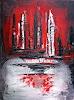 Burgstallers-Art, Eruption in  grau rot schwarz, abstraktes Leinwandbild,Unikat ,Original 60x80