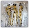 Burgstallers-Art, Erotik Bild, Gemälde, Nackte Frauen, gemalt Nude Women in Silber und Gold 80x80