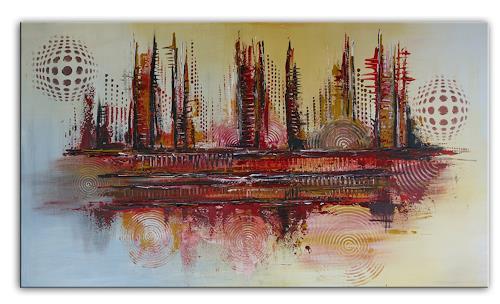Burgstallers-Art, Feuerwalze, xxl, abstraktes, Acrylbild, Leinwandbild, Unikat, Original, Gemälde, rot, gelb, 70x120,, Abstract art, Abstract Art