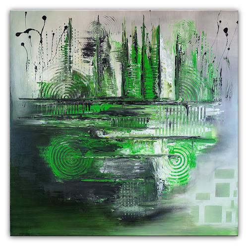 Burgstallers-Art, Floating, 80x80, grün, grau, abstrakt, gemalt, unikat, wandbild, leinwandbild, acrylbild,, Abstract art, Abstract Art