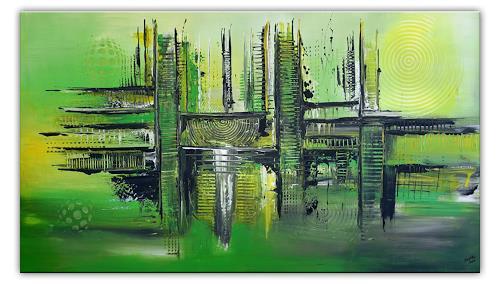Burgstallers-Art, Forrest, abstraktes, wandbild, gruen, leinwandbilder, online kaufen, 80x140,, Abstract art, Abstract Art