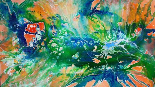 Burgstallers-Art, Gartenteich, abstrakte, Malerei, Moderne, Kunst, grün, blau, orange,  80x140, Abstract art, Abstract Art