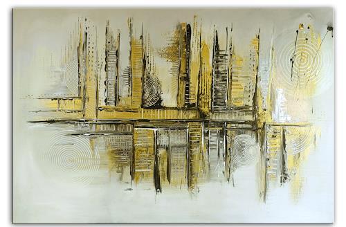 Burgstallers-Art, Goldenes Chaos, abstraktes Acrylbild, Kunstbild, Silber, Gold, Acrylgemälde,  80x120, Abstract art, Abstract Art
