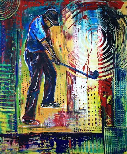 Burgstallers-Art, Golfspieler, Golfer, Gemälde, Bilder, Golf, Malerei, 50x70, People: Men, Sports, Abstract Art