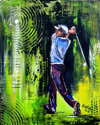 Burgstallers-Art, Golfspieler, Golfer, Gemälde, Bilder, Golf, Malerei, Golfturnier, Preise, Acrylbilder, 50x70, People: Men, Sports, Abstract Art