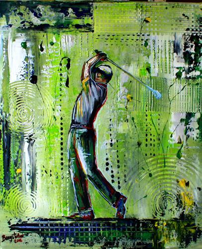 Burgstallers-Art, Golfspieler, Golfer, Gemälde, Bilder, Golf, Malerei, Golfturnier, Preise, Leinwandbild, 50x70, People: Men, Sports, Abstract Art
