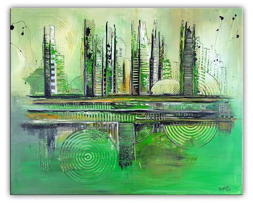 Burgstallers-Art, Grüne Stadt, Kunst, Acrylbild, Abstrakt, 80x100, Abstract art, Abstract Art