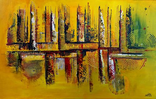 Burgstallers-Art, Herbstzeit, abstraktes, Wandbild, Malerei, Kunst, Bild, gelb, grün, ocker,, Abstract art, Abstract Art