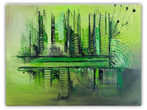 Burgstallers-Art, Im Urwald, 60x80, abstraktes, grünes, Gemälde, handgemalt, Acryl, Malerei, abstrakt,, Abstract art, Abstract Art
