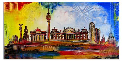 Burgstallers-Art, Berlin 2019 - 50x100 Stadtbild Acrylbild Wandbild auf Leinwand, Architecture, Interiors: Cities, Contemporary Art