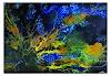 Burgstallers-Art, Korallen 2 abstrakte Malerei 120x80cm blau gelb Kunst Bild Original GEmälde