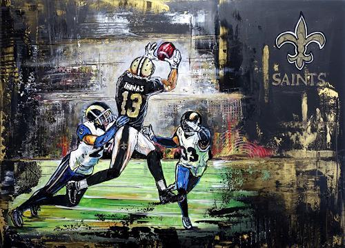 Burgstallers-Art, Malerei Gemälde Michael Thomas New Orleans Saints handgemaltes Acrylbild 80x60, People, Sports, Abstract Art