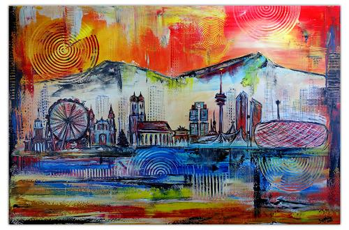 Burgstallers-Art, München Skyline abstrakt gemalt4 - 80x120x2cm, Abstract art, Architecture, Abstract Art