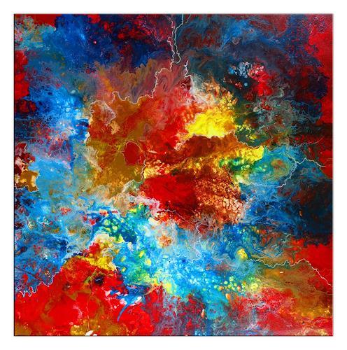 Burgstallers-Art, Rote Nova abstraktes Acrylbild handgemalt Moderne Kunst Malerei Unikat 80x80, Abstract art, Fantasy, Abstract Art