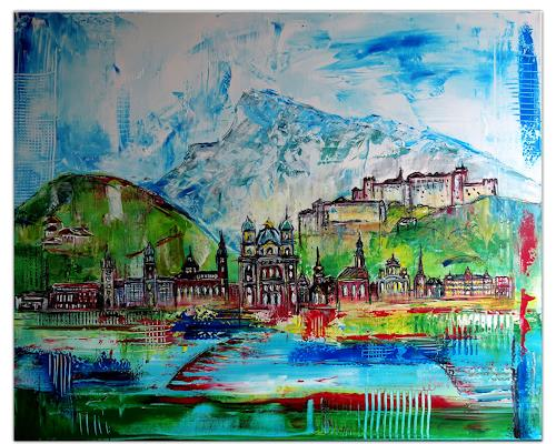 Burgstallers-Art, Salzburg Skyline Altstadt abstrakt gemalt Malerei Kunstbild Acryl Gemälde 100x80x2cm, Abstract art, Architecture, Contemporary Art