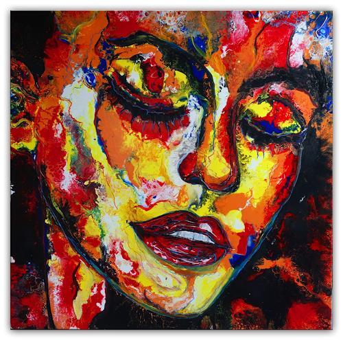 Burgstallers-Art, Traumzeit abstrakte Malerei Original Gemälde Kunstbild Acrylbild 100x100, Abstract art, People: Faces, Abstract Art