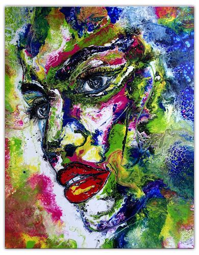 Burgstallers-Art, Wandbild Amazone Moderne Malerei Gesicht abstrakt gemalt Acryl Gemälde Original Kunstbild 80x100, Abstract art, People: Faces, Modern Age, Abstract Expressionism