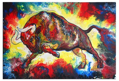 Burgstallers-Art, Wandbild Stier Torro rot braun Malerei abstrakt handgemalt Acryl Gemälde Kunstbild 120x80, Abstract art, Animals, Abstract Art