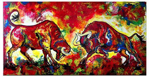 Burgstallers-Art, Zwei wilde Stiere Bullen Gemälde Malerei Kunst Bilder 100x200cm XXL, Abstract art, Animals, Abstract Art