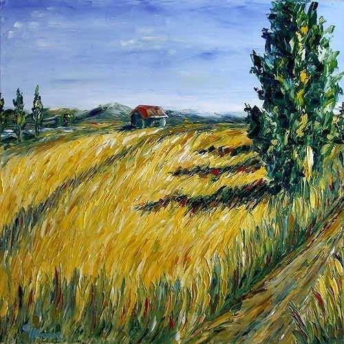 Claudia Hansen, Kornfeld mit Zypressen, Landscapes: Summer, Landscapes: Plains, Post-Impressionism, Expressionism