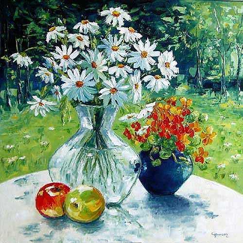 Claudia Hansen, Stillleben mit Margeriten, Plants: Flowers, Still life, Post-Impressionism, Expressionism