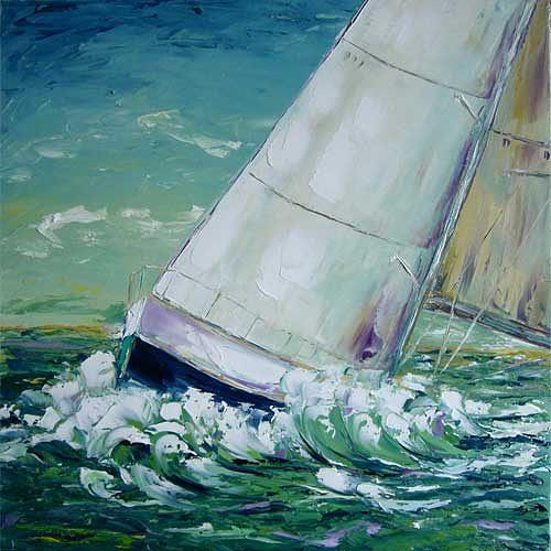 Claudia Hansen, Regatta II - Mainsail, Landscapes: Sea/Ocean, Sports, Post-Impressionism, Expressionism