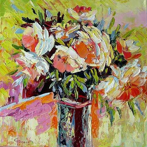 Claudia Hansen, JOY, Plants: Flowers, Still life, Post-Impressionism, Expressionism