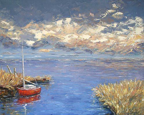 Claudia Hansen, Rotes Boot, Landscapes: Sea/Ocean, Nature: Water, Post-Impressionism, Expressionism
