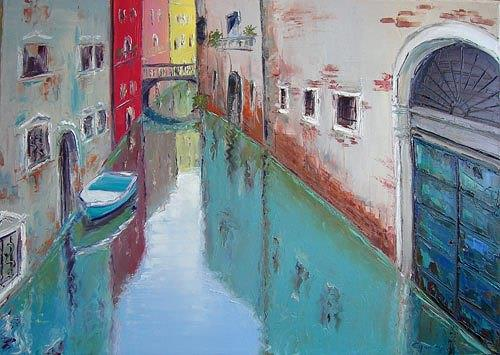 Claudia Hansen, Kanal in Venedig, Architecture, Miscellaneous Romantic motifs, Realism, Abstract Expressionism