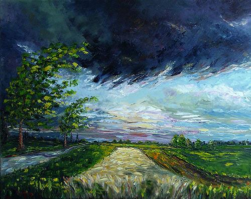 Claudia Hansen, Gewitterwolken, Landscapes: Summer, Nature: Air, Post-Impressionism, Expressionism