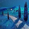 C. Hansen, Mondschein über den Hügeln der Toskana
