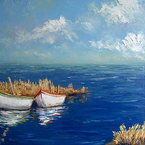Claudia Hansen, Fischerboote am Haff, Landscapes: Sea/Ocean, Nature: Water, Realism, Expressionism
