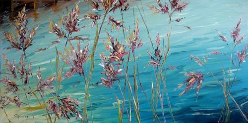 Claudia Hansen, Schilfgräser I, Landscapes: Sea/Ocean, Plants: Flowers, Post-Impressionism
