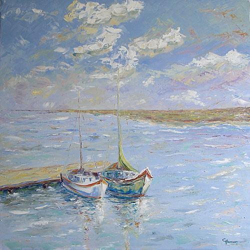 Claudia Hansen, Segelboote am Bootssteg, Landscapes: Sea/Ocean, Nature: Water, Post-Impressionism, Expressionism