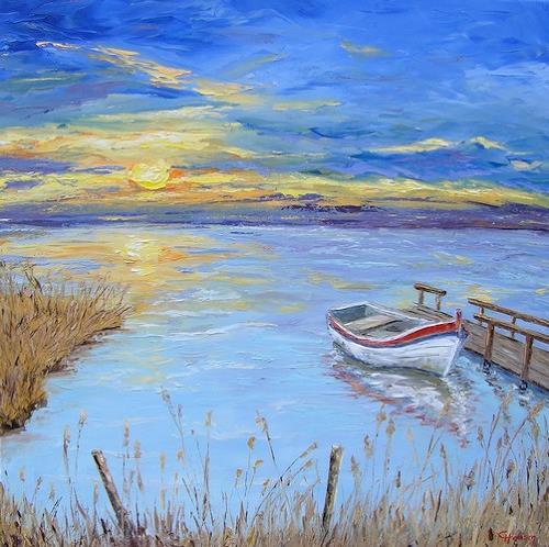 Claudia Hansen, Sonnenuntergang mit Boot, Romantic motifs: Sunset, Landscapes: Sea/Ocean, Post-Impressionism, Expressionism