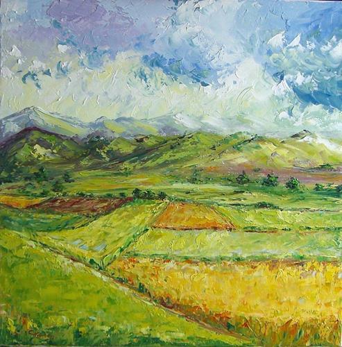Claudia Hansen, Voralpenlandschaft im Sommer, Landscapes: Mountains, Landscapes: Summer, Post-Impressionism
