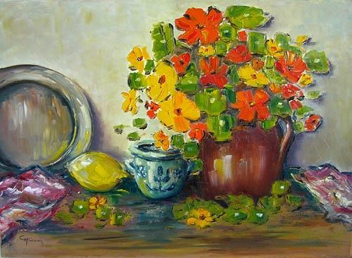Claudia Hansen, Stilleben mit Kapuzinerkresse, Still life, Plants: Flowers, Land-Art