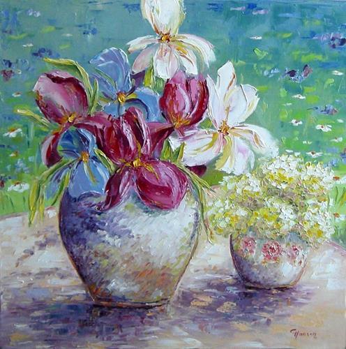 Claudia Hansen, Iris und Schneeball-Hortensien auf Gartentisch, Plants: Flowers, Times: Summer, Post-Impressionism