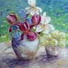 Claudia Hansen, Iris und Schneeball-Hortensien auf Gartentisch