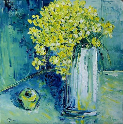 Claudia Hansen, Stillleben mit grünem Apfel, Plants: Flowers, Still life, Neo-Expressionism, Expressionism