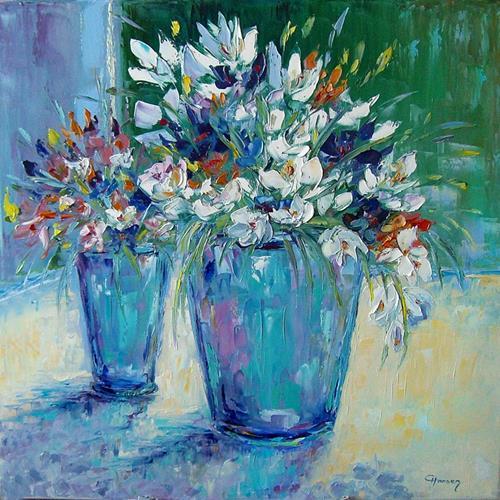 Claudia Hansen, Frühlingsblumen, Plants: Flowers, Still life, Post-Impressionism
